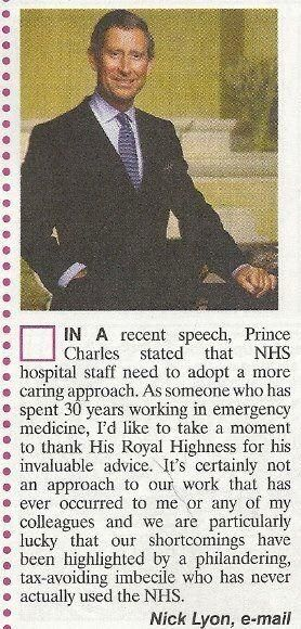 Email from Nick Lyon on HRH comments on NHS